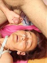The young stud lays the granny babe and she appreciates all that young cock fucking her hole