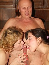 Slutty gilfs Elvira and Martha inject grandpa with a viagra and give him a taste of their wild fucking live