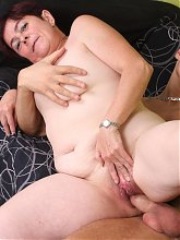 Naughty mature Simone got herself a young fuckbuddy and later sucks and fucks his cock