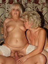 Blonde matures Francesca and Eelene pleasure each other while one gets fucked in this threesome