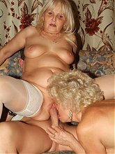 Horny grannies Francesca and Erlene go for a raunchy threesome session and share a dick