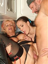 Silvia and Christina hook up with a neighbor and took turns in getting fucked in this mature threesome