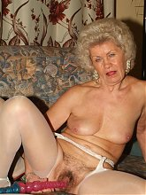 Francesca and Erlene are big boobed grandmas having a nice lesbian dildo sharing live