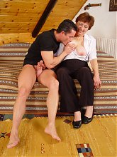 Explicit webcam show with beautiful grandma Valda sucking and riding a younger guys cock